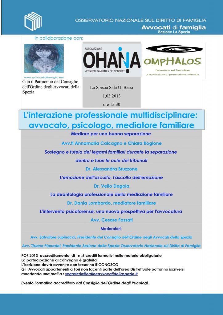 L'interazione professionale multidisciplinare:avvocato, psicologo, mediatore familiare